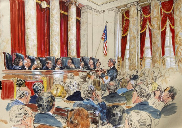 Donald B. Verrilli, Jr., Sonia Sotomayor, Stephen Breyer, Clarence Thomas, Antonin Scalia, John Roberts, Anthony Kennedy, Ruth Bader Ginsburg Samuel Alito and Elana Kagan
