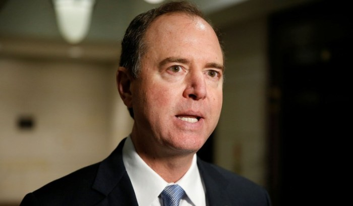 Rep. Adam Schiff (D-CA) speaks after U.S. Attorney General Jeff Sessions attended a closed door interview with the House Intelligence Committee on Capitol in Washington